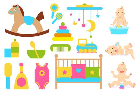Children vector, plush horse on wooden stand, bowl with spoon. Crib cradle for kiddo with pillows, clothing and bottle, toys for abilities development Ilustrace