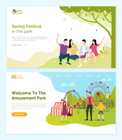 Welcome to amusement park vector, people having fun at spring festival. Man and woman friends laughing sitting on grass under trees, ferris wheel. Website or webpage template, landing page flat style