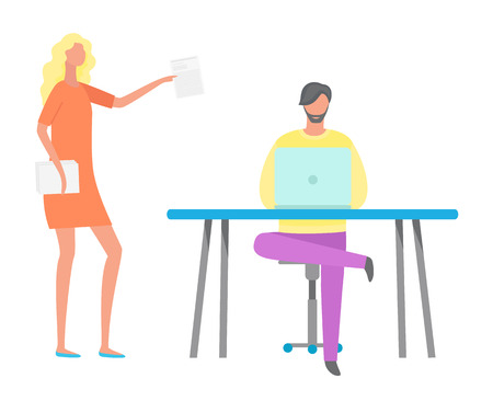 Woman holding documentation vector, man working on computer. Coder and boss with report, people at work, ceo executive giving tasks to employee flat style Illustration