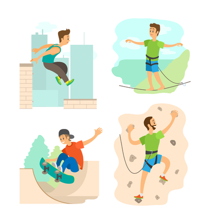 Highlining and parkour in city vector, wall climbing man training in gym with safety belt. Skateboarder young person with skateboard practicing set