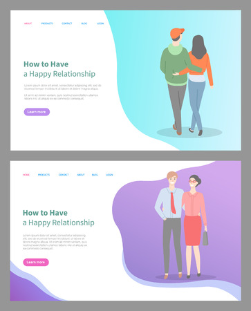 How to build happy relationship vector, man and woman holding hands. Happiness of people in love spending time together living in harmony. Website or webpage template, landing page flat style Stock Illustratie