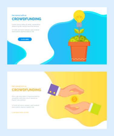 Crowdfunding web set, money tree with bulb and dollars, hands and coin. Cash presentation or payment online, investment business technology vector. Website or webpage template, landing page flat style