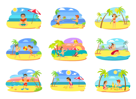 Summer vacation vector, set of kids on beach. Boys and girls playing together, building castle, eating juicy watermelon. Water fight and wind kite