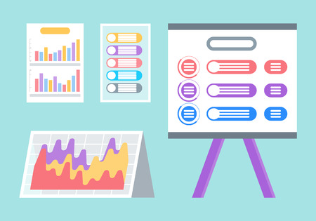Documents and screen with infographics vector. Set of isolated icons, diagrams and templates, business planning and analytics, graphics and charts