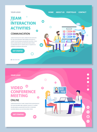 Team interaction activities vector, people on conference performed with help of innovative technologies. Meeting and discussion of business ideas. Website or webpage template, landing page flat style Ilustrace