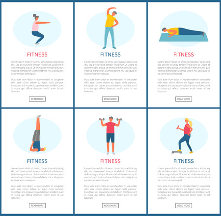 Fitness sports people in gym vector, man and woman working out, losing weight. Men with dumbbells, planking person on mat, squats training websites Stock Illustratie