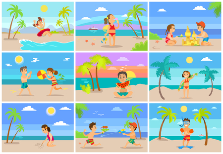 Kids on summer vacations vector set, girl with boy playing volleyball, kid with lifebuoy, water fight and sand castle building, diving equipment on male Ilustrace