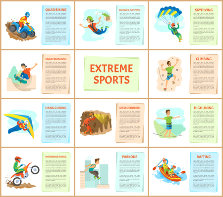 Extreme sports poster with text, wall climbing and rafting in boat, skateboarding and highlining balancing on line, bungee jumping and hang gliding