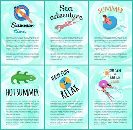 Hot summer poster with text vector, people on vacation, sea adventures of tourists. Lady laying in lifebuoy, swimming people, crocodile in water set 向量圖像