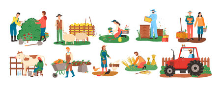 People at farm vector, farmers with cow and pigs, woman feeding chickens, couple with carrot basket, harvesting season. Bee honey and tractor cultivation  イラスト・ベクター素材