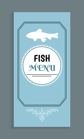 Fish menu template, vector seafood dishes list with marine animal silhouette. Vector cover mockup with ornamental frame, salmon or trout emblem on blue Ilustrace