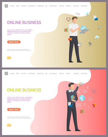 Online business, worker with access to internet web vector. Employee with global data, businessman speaking to partners, interacting with infocharts