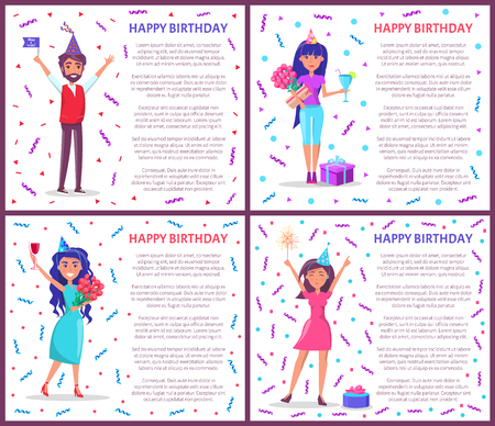 Happy birthday greeting posters people celebrating Bday. Cartoon female and male characters, festive hats vector on backdrop of tinsels and confetti, gifts Ilustrace