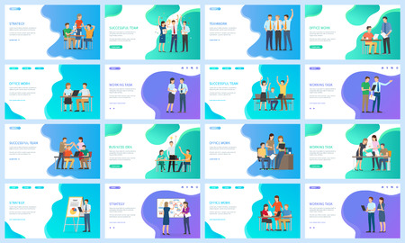 Startup and strategy on workers vector, people working in office, successful teams and celebration of achievements, teamwork happy man and woman set