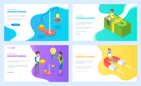 Crowdfunding vector, people scaling money finances and idea represented in form of lightbulb. Banknotes and magnet attracting profit benefit. Website or webpage template, landing page flat style Illustration