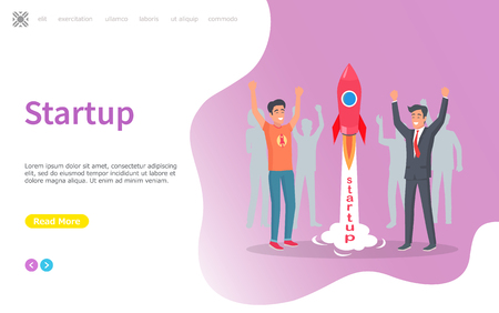 Spaceship launching, new business project vector. Successful start of ideas realization, achievement of success, businessman happy of results. Website or webpage template, landing page flat style Ilustrace