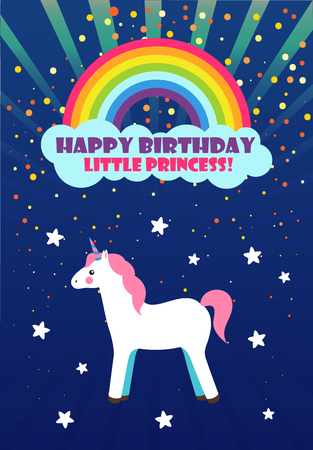 Unicorn and rainbow, Happy Birthday, princess congratulation vector. Girlish greeting card with stars and cloud, fairy animal creature, horse with horn