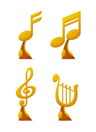 Music award, reward of musical players and singers vector. Isolated icons set of gold prizes with notes and harp music instrument trophy for winners