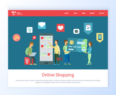 Online shopping people with smartphone vector, man and woman with big credit card, male with cart and laptop looking for purchases to make . Website or webpage template, landing page flat style Ilustrace