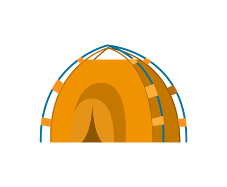 Tent camping, yellow canopy, equipment for outdoor travel. Nature tourism, journey or adventure, flat design booth, empty stall isolated on white vector Çizim