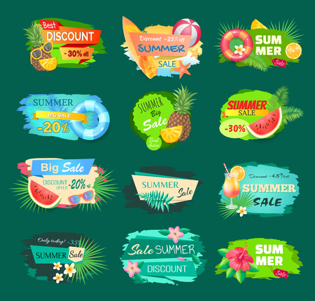 Summer discount banners set with summertime vector. Pineapple and cocktail, surfing board and saving ring and flowers in bloom. Promotion and offers