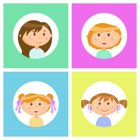 Cute girls isolated set vector, kids with smile on face front and side view. Circle frames, children wearing shirts, having hairdo with ribbons and decor  イラスト・ベクター素材