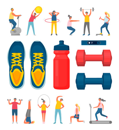 People using fitness ball vector, man with barbell and dumbbells. Woman running, and jumping, sportswear shoes and bottle of water, bodybuilders set
