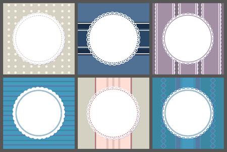 Cadres ronds de rechange sur dépouillé. Lieu de bordure de cercle vectoriel pour le texte, encadrement ornemental sur violet, bleu et rose. Maquettes de bannières, modèles de cartes d'informations Vecteurs