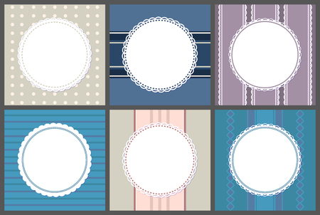 Round spare frames on stripped. Vector circle border place for text, ornamental framing on purple, blue and pink. Mockups of banners, templates of info cards