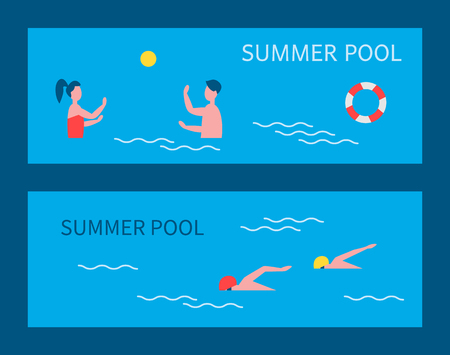 Summer pool people on vacation summertime holidays water games polo and couple. Professional sportsmen swimmers wearing special goggles set vector