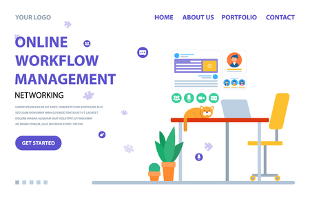 Online workflow management homepage, cat sitting on table with laptop, interface of web icon on white, service online, management app, work vector. Website or webpage template, landing page flat style