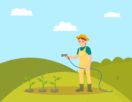 Farmer woman watering plants vector. Farming female person with hose on plantation taking care of growing vegetables. Horticulture and husbandry works Illusztráció