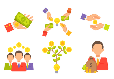 Crowdfunding vector, man with pile of money, dollars in bag isolated icons set. Businessman with American currency, hand with banknotes, people and tree