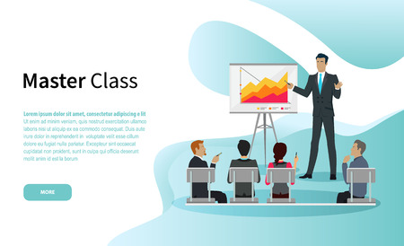 Master class vector, businessman giving tutorial to guests. Conference with whiteboard and explanation, seminar people listening to skillful boss
