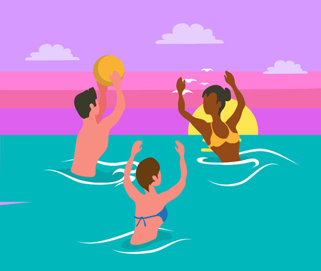 Man tossing big colorful ball, women catching it, water sport activity. Portrait and back view of friends wearing swimsuit, splashing in sea vector volleyball Illustration