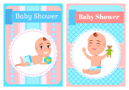 Baby shower posters set, six or seven month infant lying and playing with ball. Toddler sit and play with teddy bear. First year of child, daily activities