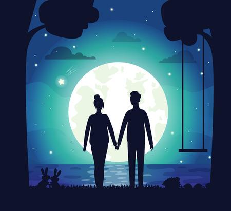 Romantyczna para wektor, mężczyzna i kobieta na tajną randkę stojący nad jeziorem, trzymając się za ręce. Huśtawka i sylwetka drzewa, lśniące gwiazdy i romans