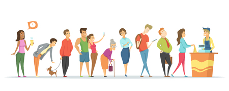 Counter and worker vector, people waiting in long line, tired man and woman, pet dog, senior lady with stick, teenager with rucksack. Market service Иллюстрация