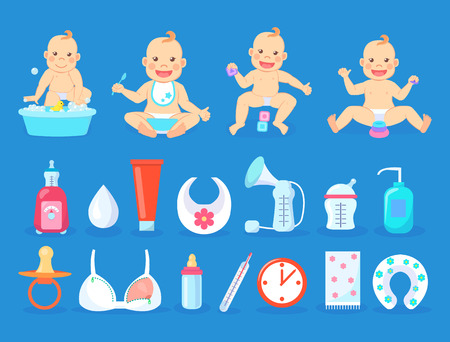 Baby activities set vector, child sitting by water with soap and duck toy, thermometer and dummy. Special bra for mother, bottle with milk and lotions Ilustração