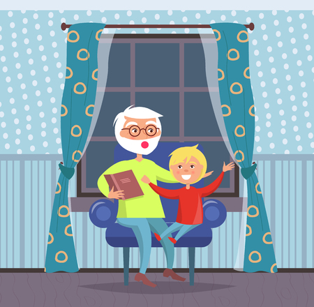 Family evenings at home vector, grandfather and grandson listening to fairy tale told by grandad. People sitting on sofa beside window with curtains