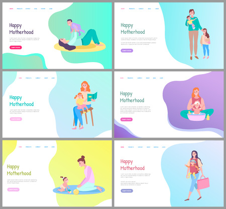 Happy Motherhood vector, mom and kid playing together. Mother caring for child spending time walking, daughter and mun, son and woman. Website or webpage template, landing page flat style