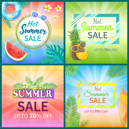 Hot summer sale posters set with seventy percent reductions vector. Watermelon and rubber lifebuoy, surfing board and palm leaves, pineapple fruit