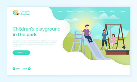 Children playground in park web, child moving down hill, character in casual clothes, girl sitting on wooden swing, portrait view of people outdoor vector Reklamní fotografie - 123206309