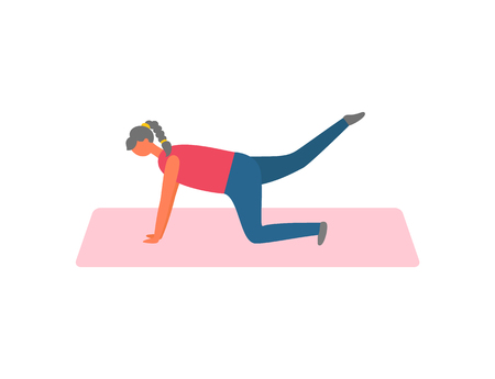 Woman on rug lifting legs, sport and exercise vector. Fitness and physical activity, girl training in sportswear pumping muscles isolated female character
