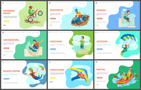 Highlining and motorbike biking, quad bike vector, active lifestyle. Parkour and skateboarding, skydiving and rafting in boat, team in water sports. Website or webpage template, landing page flat styl
