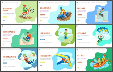 Highlining und Motorradfahren, Quad-Bike-Vektor, aktiver Lebensstil. Parkour und Skateboarding, Fallschirmspringen und Rafting im Boot, Team im Wassersport. Website- oder Webseitenvorlage, flacher Landingpage-Stil
