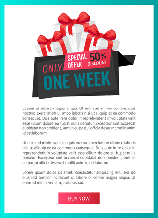 Only one week, price reduction , shop clearance label web page template vector. Best shop offer, saving money. Present box with bow, goods promotion gift