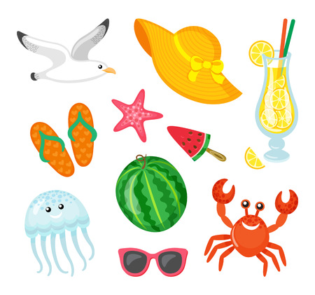 Summer elements, hat with bows and ribbon vector. Watermelon on stick, rubber flip flops, jellyfish and crab, seagull and starfish. Cocktail with lemon