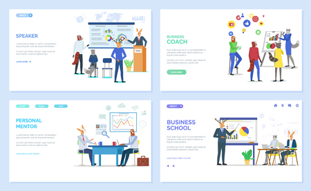 Personal mentor vector, hipster animals at work, working on new ideas. Conference of businessmen, school and teaching, coach giving advice. Website or webpage template, landing page flat style