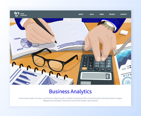 Worker counting on calculator, writing in notebook, financial report, 3d view of person hands, glasses and charts, web business analytics vector. Website or webpage template, landing page flat style